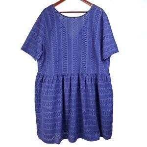 Asos Blue Eyelet Lace Babydoll Dress V Back Plus